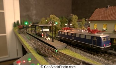 Close up of model train in miniature.