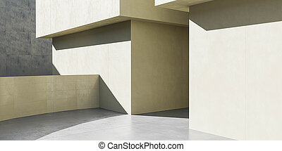 close up of modern building architecture 3d render illustration with cubic geometric shapes