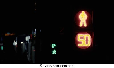 Moscow traffic light counting down in seconds - Close up of...