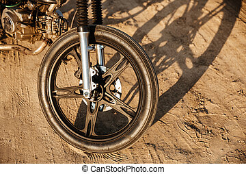 Close up of motorcycle wheel