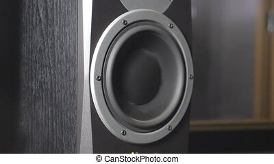 Close up of moving sub-woofer on recording studio. Black round audio speaker pulsating and vibrating from sound on low frequency. Working of modern high fidelity loudspeaker membrane. Slow motion.