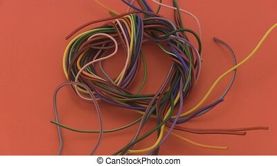 six amp electrical wire - Close up of multicoloured six amp...