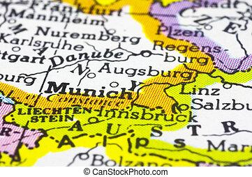 close up of Munich on map, Germany