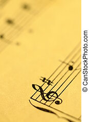 Close up of music score - Close up of piano music score and...