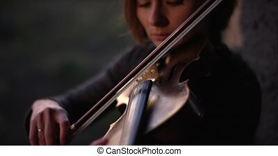 Close-up of musician playing violin, classic music 4k