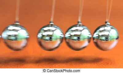Close up of Newton\'s Cradle - Desk toy pendulum