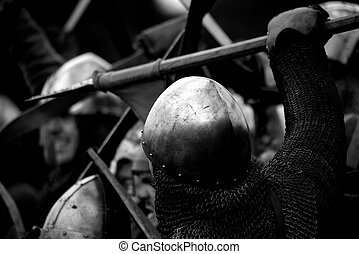 Close-up of Norman soldier fighting with spear