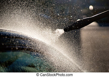 high pressure washer used on car - Close up of nozzle of...
