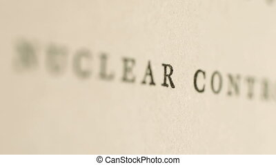 Close up of nuclear control text