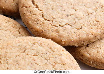 close up of Oatmeal handmade cookies with honey on plate
