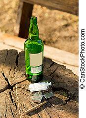 Close-up of objects - symbols of addictive habits