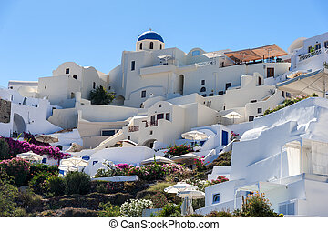 Close up of Oia village from the sea in Santorini island