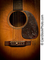 Close-up of Old, Beat-up, Vintage Acoustic Guitar - A...
