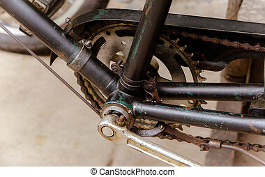 Close up of old bicycle pedal with