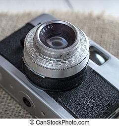 Close up of old camera