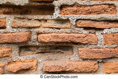 Close up of old dirty brick wall