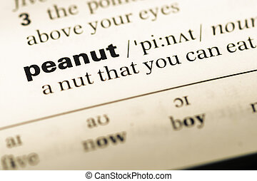 Close up of old English dictionary page with word peanut