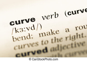 Close up of old English dictionary page with word curve