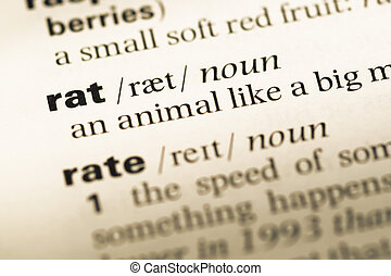 Close up of old English dictionary page with word rat