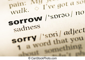 Close up of old English dictionary page with word sorrow