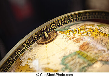 close up of old globe