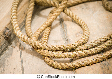Close up of old rope on boat deck