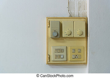 Close-up of old socket, electrical outlet on wall