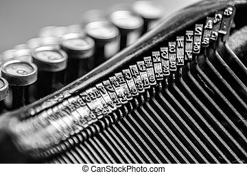 Close-up of old typewriter - Black and white close-up view...