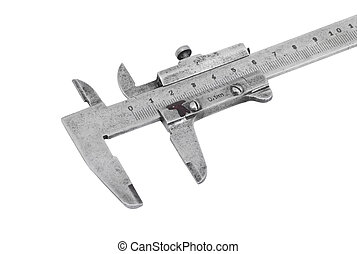 Close up of old vernier caliper, isolated on white background