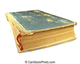 close up of old vintage book isolated over white