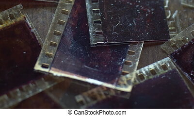 Close up of old vintage slide films