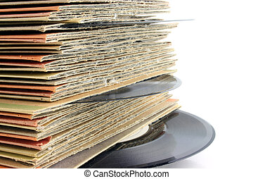 Close up of Old Vinyl Records DEEP DOF - Close up of old...
