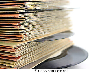 Close up of Old Vinyl Records shallow DOF