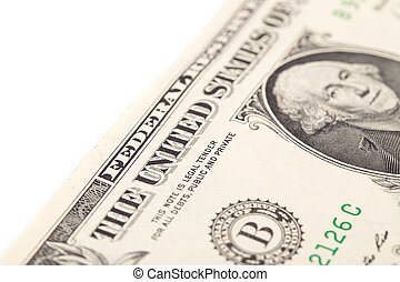 Close up of one dollar banknote. Macro.