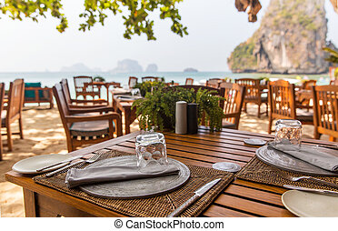 close up of open-air restaurant on beach