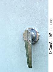 close up of open door steel cabinet.