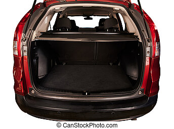 Close up of open SUV car trunk