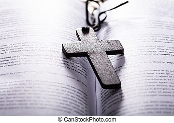 Bible With Wooden Cross
