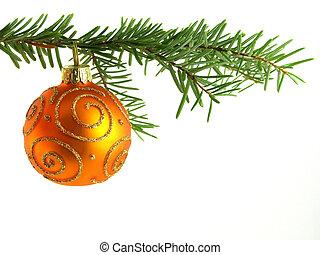 orange Christmas bauble - Close-up of orange Christmas ...