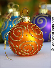 orange Christmas bauble - Close-up of orange Christmas...