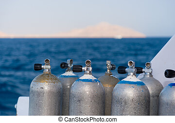 Close up of oxygen tanks