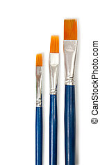 close up of paint brushes on white