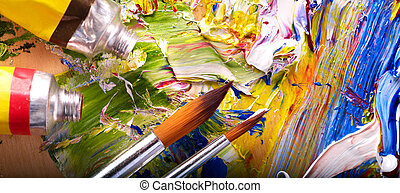 Close up of paint mixed on palette. - Close up of oil paint...