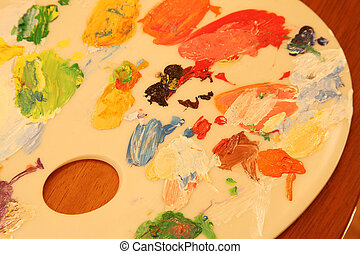 Close up of painter's palette