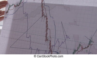 Close up of paper report with bitcoit exchange rates graphs...
