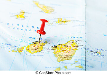 Close up of Paros island Greece map with red pin - Travel concept
