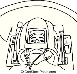 Close up of patient head in MRI scanner vector illustration sketch hand drawn with black lines, isolated on white background. Medical concept.
