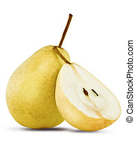 close up of pear on white background with clipping path