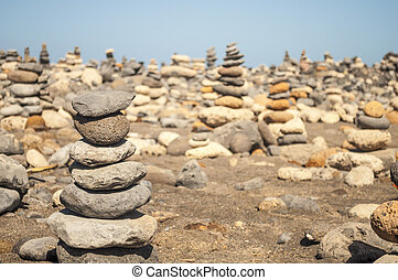 Close-up of pebbles stack