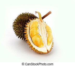 peeled durian isolated on white background.